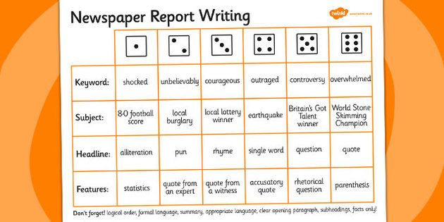 Newspaper Report Writing Dice Activity