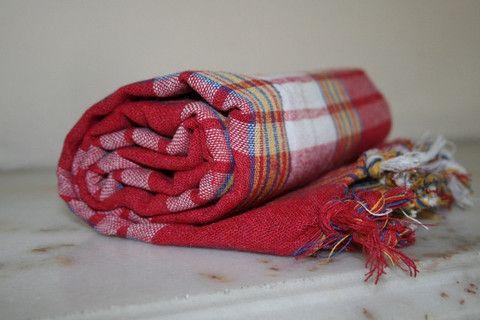 Red Turkish Bath Hammam Peshtemal Towel