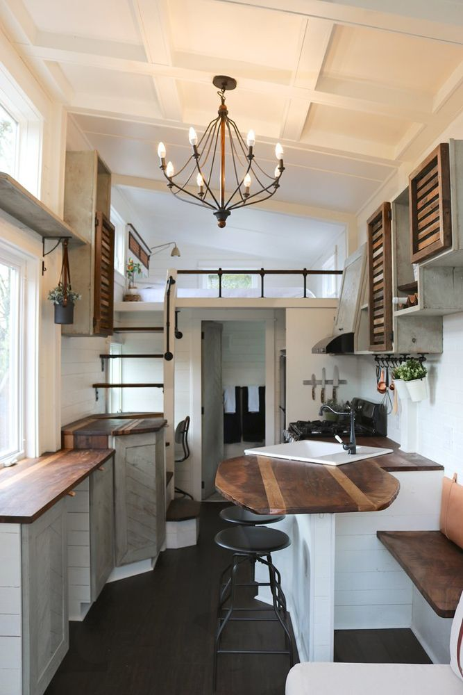 Inside the 26-foot tiny house you'll find reclaimed Oregon walnut and solid bamboo flooring throughout.