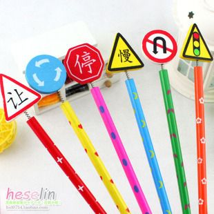 3152 South Korean cartoon stationery traffic signs manual wooden pencil pen 8pcs/set Random color