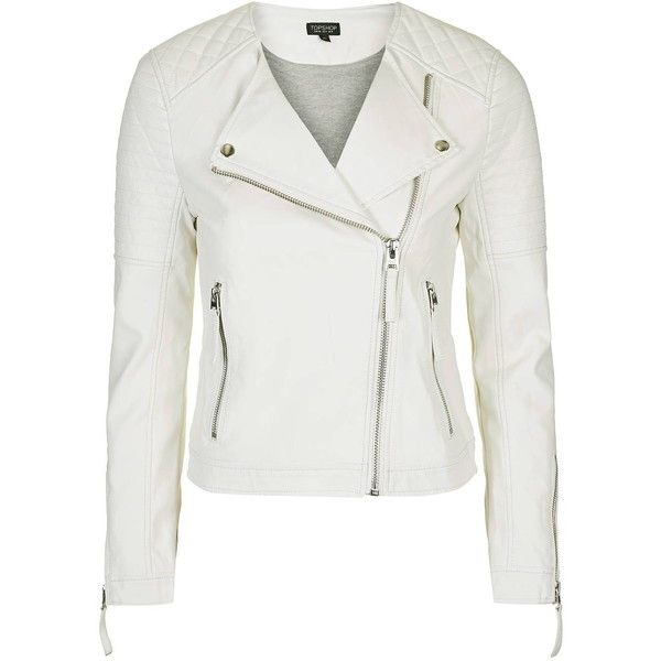 TopShop Pu Biker Jacket ($69) ❤ liked on Polyvore featuring outerwear, jackets, white, polyurethane jacket, motorcycle jacket, white motorcycle jacket, quilted jacket and zip front jacket