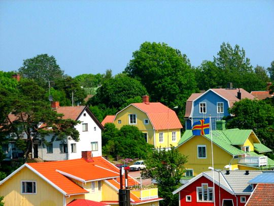 Mariehamn, Åland Islands Finland... I want a colorful house like this!