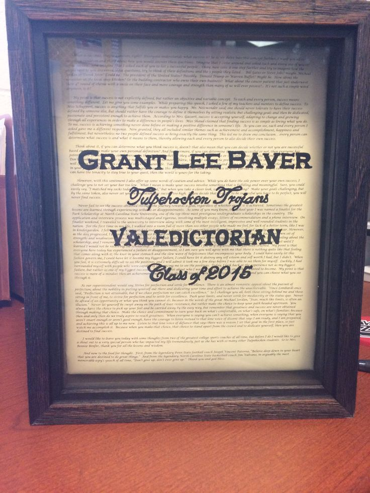 Graduation Gift idea.  Framed with valedictorian speech in the background.