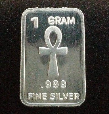 1 Gram Silver Bar Egyptian Ankh Cross Collectors Bullion 999 99 9 Fine Coins Gold Bars