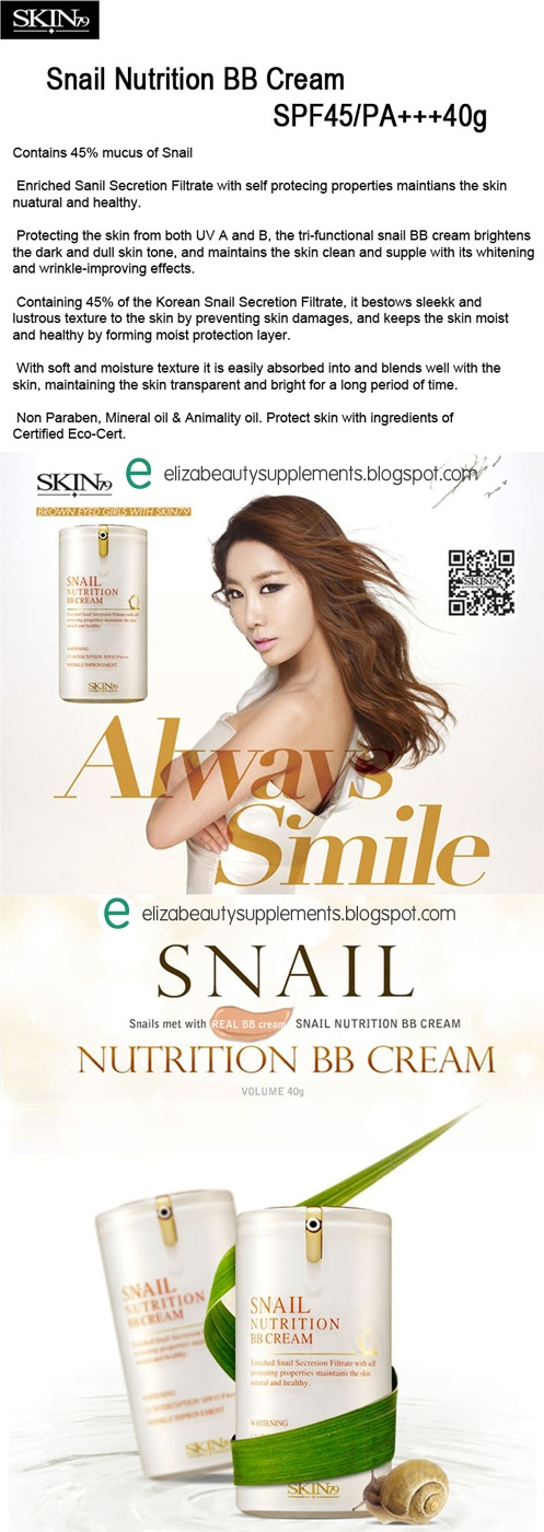 Skin79 BB Cream SPF45 PA++ Triple Functions Formula Whitening + Toned Skin Color + Anti Wrinkle  Info lanjut: http://elizabeautysupplements.blogspot.com/2013/04/skin79-bb-cream-spf45-pa-triple.html