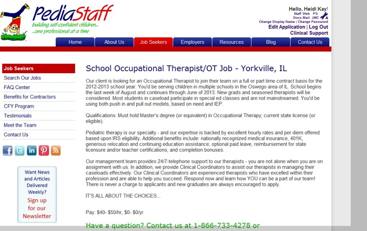 School Occupational Therapist/OT Job - Yorkville, IL - Our client is looking for an Occupational Therapist to join their team on a full or part time contract basis for the 2012-2013 school year. You'd be serving children in multiple schools in the Oswego area of IL.  - click here for more!Speech Languages, Physical Therapist, Client, Schools Based, Click, Schools Years, Hot Job, Shout, Occupational Therapist