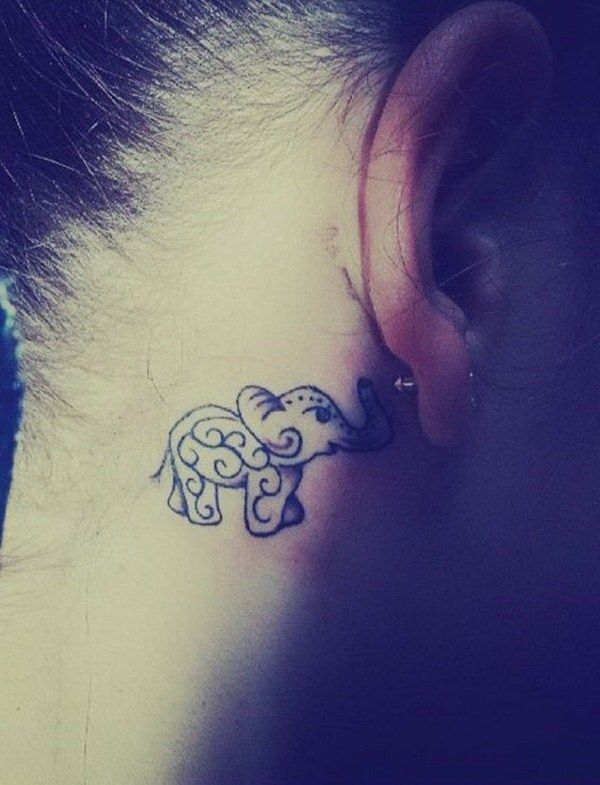 ce92f4eb0 70 Pretty Behind the Ear Tattoos | <3 | Elephant tattoos, Elephant ...