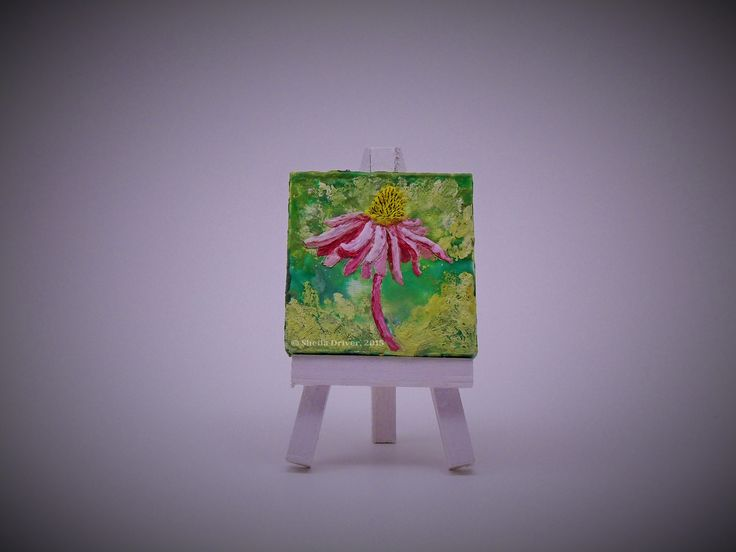 "Title: Petit Coneflower Size: 2.75'' x 2.75"" (7 cm x 7 cm)  This is an original encaustic painting, created entirely from a wax medium applied to a mini canvas frame, and comes with its own mini easel. This work is part of a series of paintings called Du Jardin, (meaning ""From the Garden"" in English)."