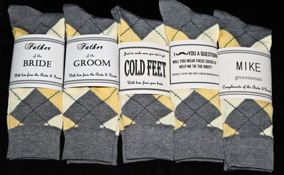 Just In Case You Get Cold Feet- Yellow and Grey Socks & Label Groom Gift on Etsy, $6.00 // haha would be a great gift for a groom!