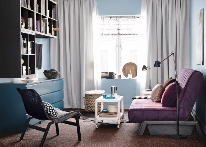 love color scheme wall color floating bookcases with a touch of purple ikea catalogue 2015small living - Living Room Decor Ikea