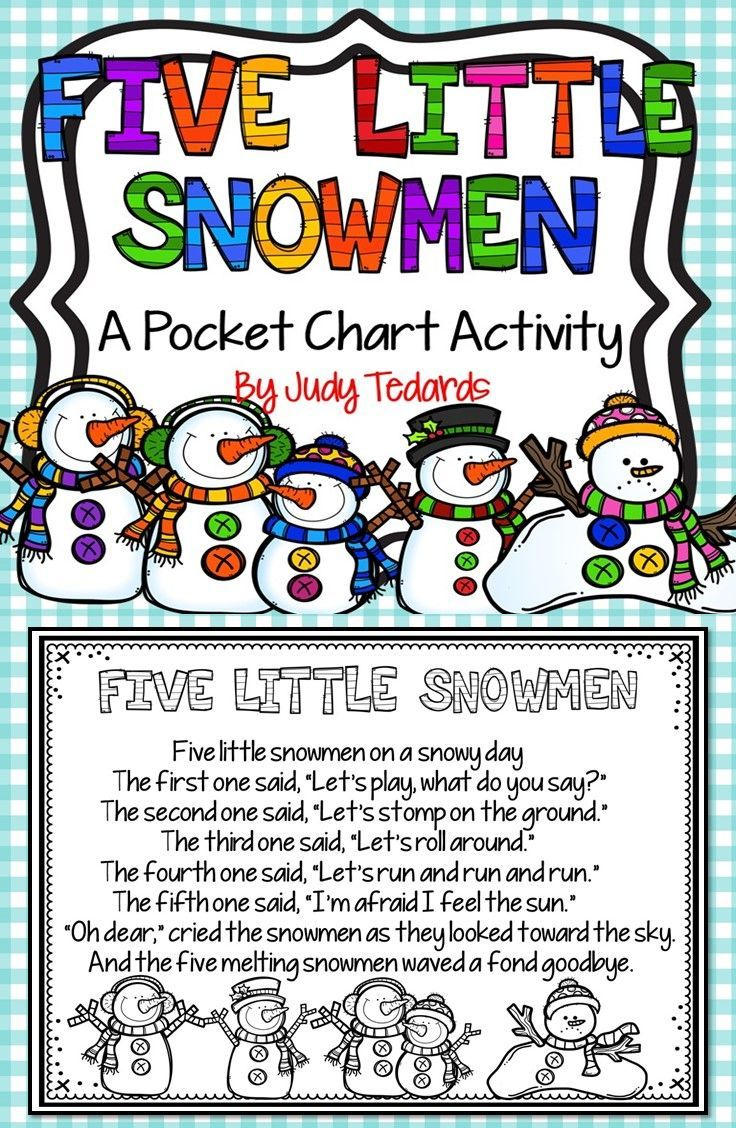 Five Little Snowmen is a fun winter pocket chart activity. It is also a good way to teach or review ordinal numbers. I have included all words and pictures you'll need. Just print and cut and your pocket chart activity is ready to use. If you like this pocket chart activity, I hope you will check out my other pocket chart poems and songs.