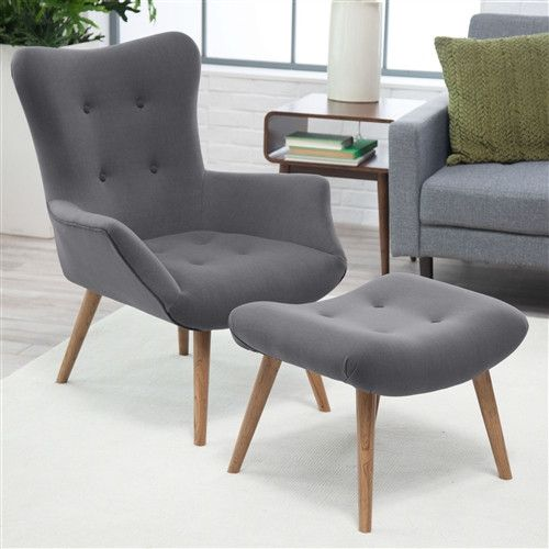 Modern Classic Mid-Century Style Gray Accent Chair and Ottoman