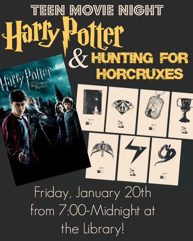 This weeks teen activity is a Harry Potter Movie Night!  Come enjoy games and puzzles that have to do with the seven horcruxes, and then enjoy watching Harry Potter and the Half-Blood Prince!  Pizza, drinks, and snacks will all be provided.  The movie night will be on FRIDAY from 7:00-Midnight at the library.  Make sure to tell all your Potterhead friends!