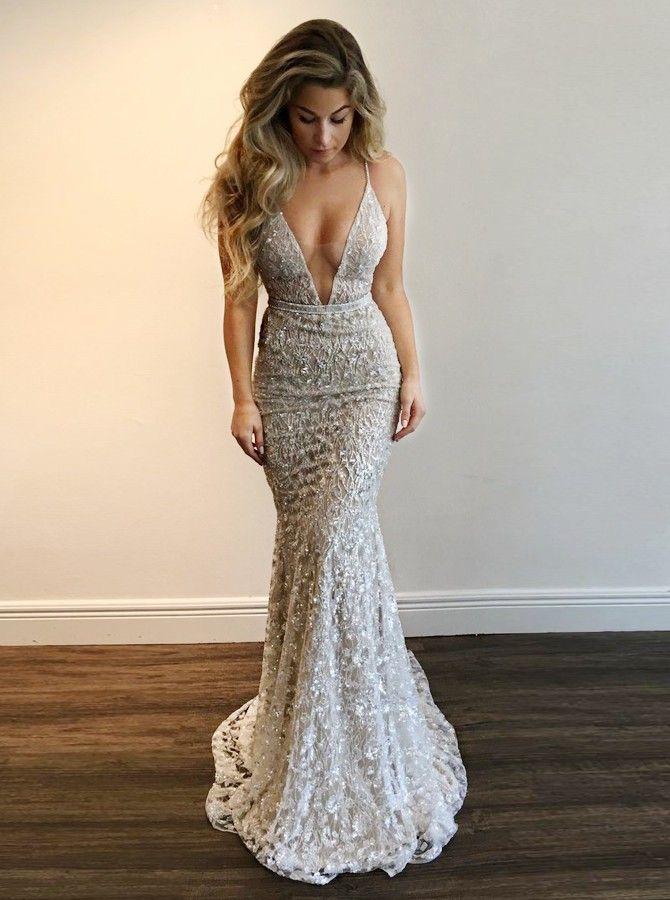 Mermaid V-Neck Sweep Train Light Champagne Lace Prom Dress  156.99 - Prom  Dresses 2018 in Bohoddress.com. 036d57c2c39a