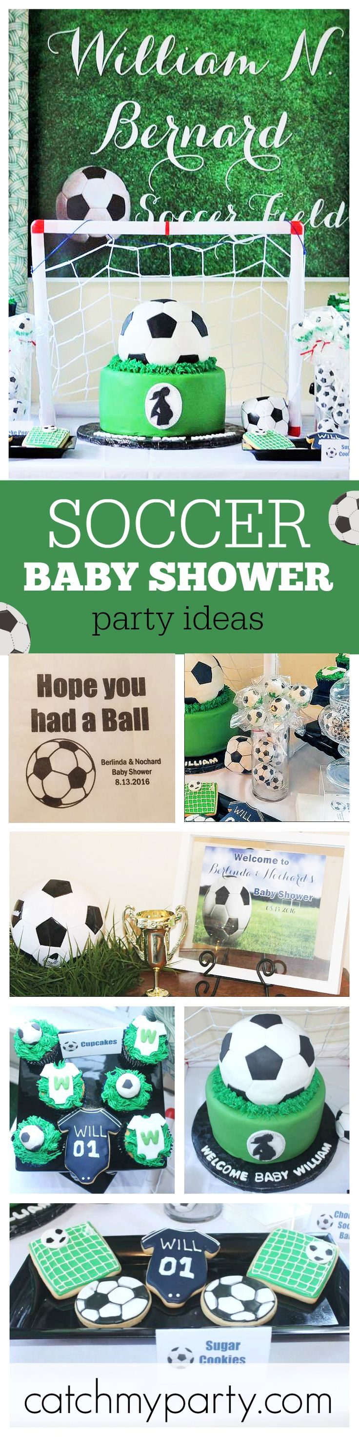 Soccer fans are definitely going to want a soccer baby shower for their little baby boys! The cupcakes and cookies are adorable! See more party ideas at CatchMyParty.com