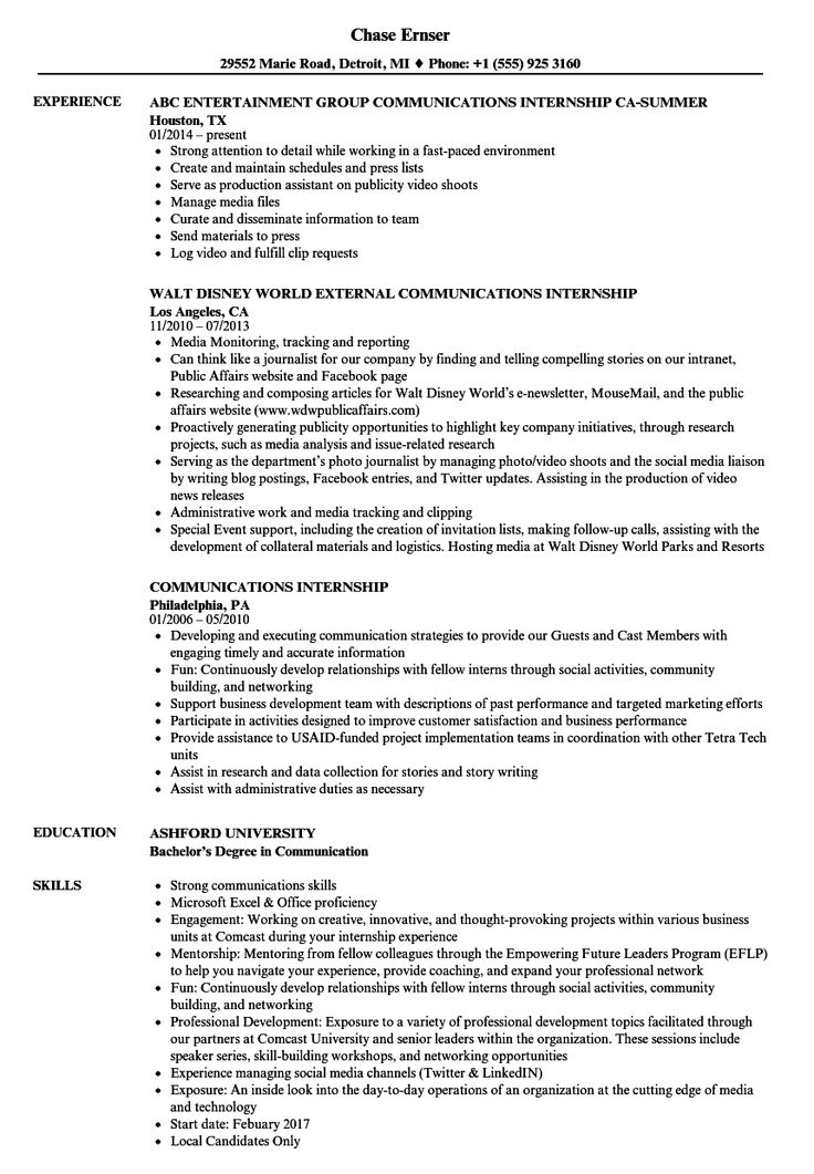 Communications Internship Resume Samples Project manager