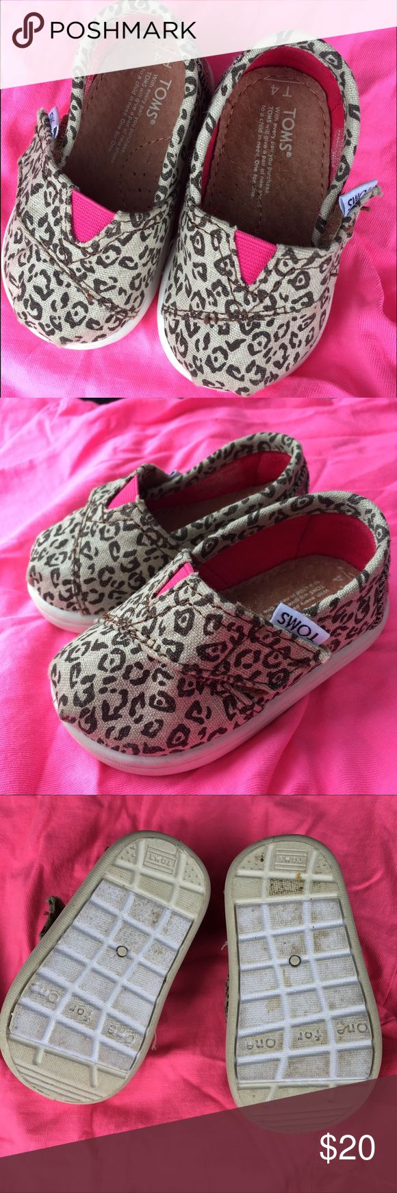 Leopard TOMS Leopard print tiny toms. Toddler size 4. EUC. TOMS Shoes