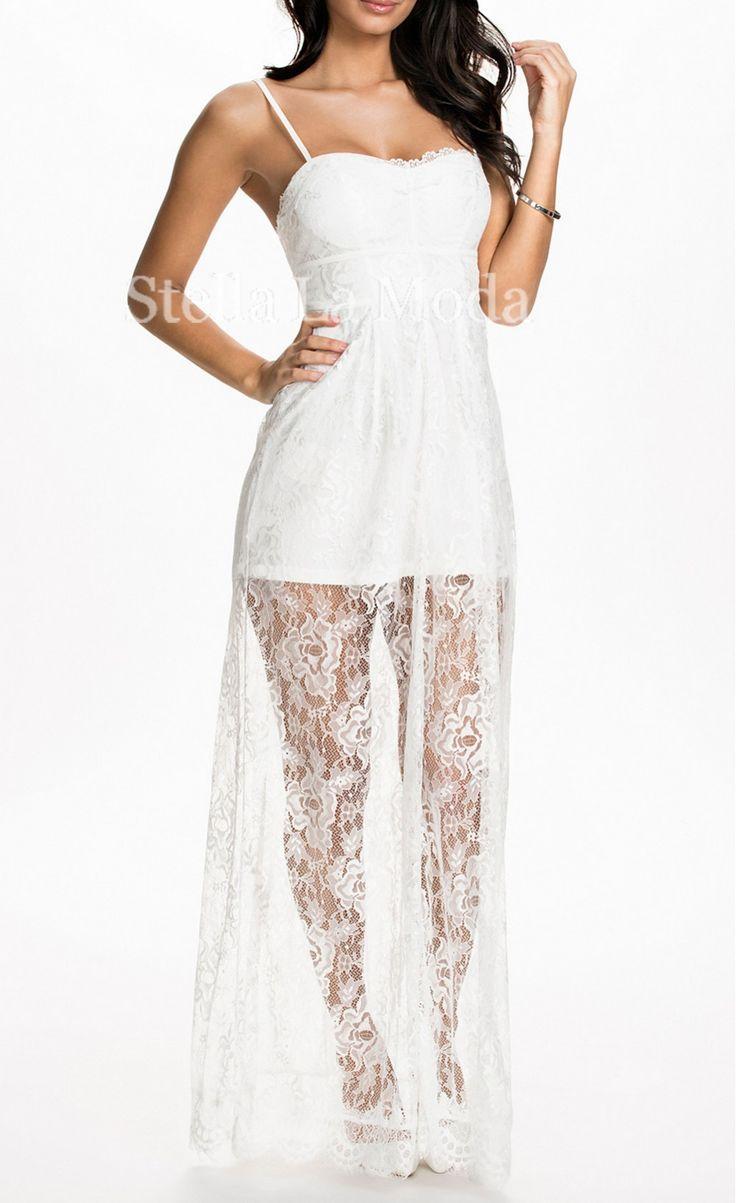 White Sheer Lace Overlay Long Slip Dress - Stella La Moda