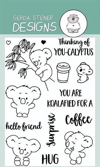 """You're Koalifed to use this 4x6 Clear Stamp Set. These cute koalas can be used in many different scenes. That coupled with the cute sentiments: """"You are Koalifed for a Surprise"""" or """"Thinking of You-ca"""