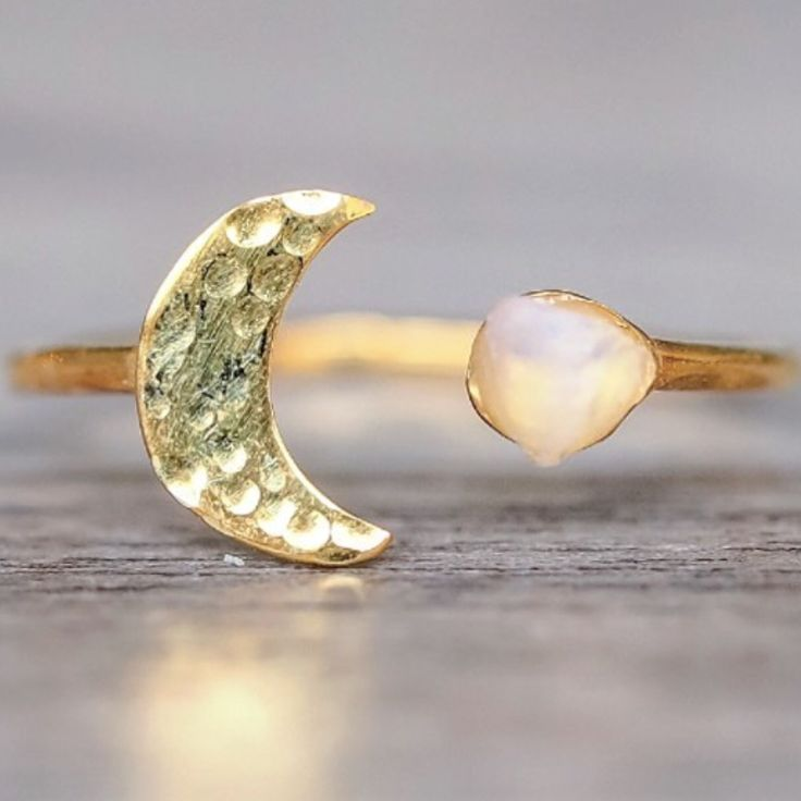 N E W || Gold Little Raw Opal and Moon Ring || Available in our 'NEW' and 'Luna' Collections || www.indieandharper.com