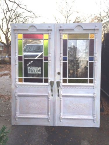 Antique Eastlake Victorian French Double Entry Exterior Stained Glass Doors