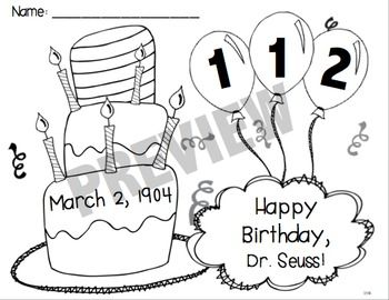 FREE Dr. Seuss Birthday Color Page for 20152020 Dr