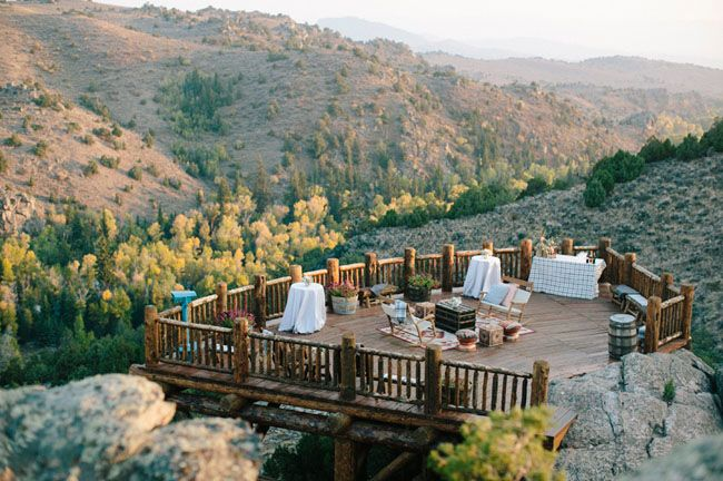 cocktails with a breathtaking view at Brush Creek Ranch