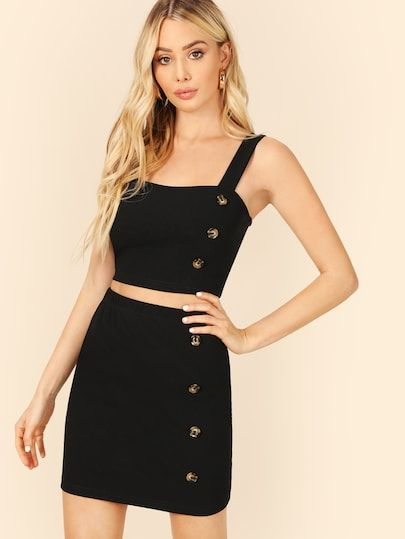 0a179234c4be67 SHEIN Buttoned Detail Thick Strap Top & Skirt Set #fashion #trends #styles # shein #sheinside #clothes #fashionista shein #sheinreviews #sheinshopping,  shein ...
