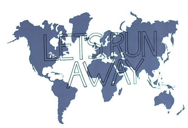 'Let's Run Away', White (I Screen, You Screen; Typography & Letterpress sale, OneKingsLane)
