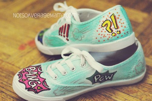 How to make Comic book themed shoes with Elmers Painters Paint Markers! @stitchblade