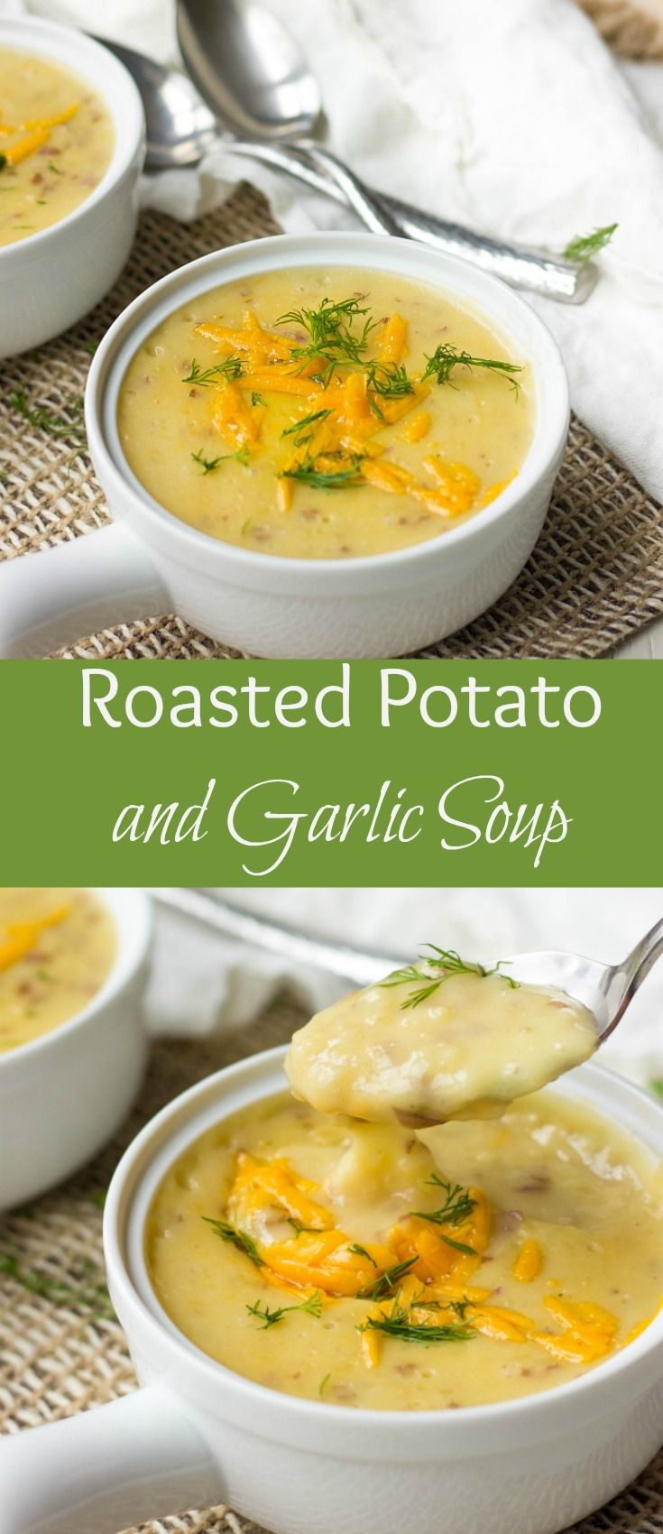 Roasted Potato And Garlic Soup is packed with irresistible flavors. It's made in no time and is sure to warm you up during colder months.