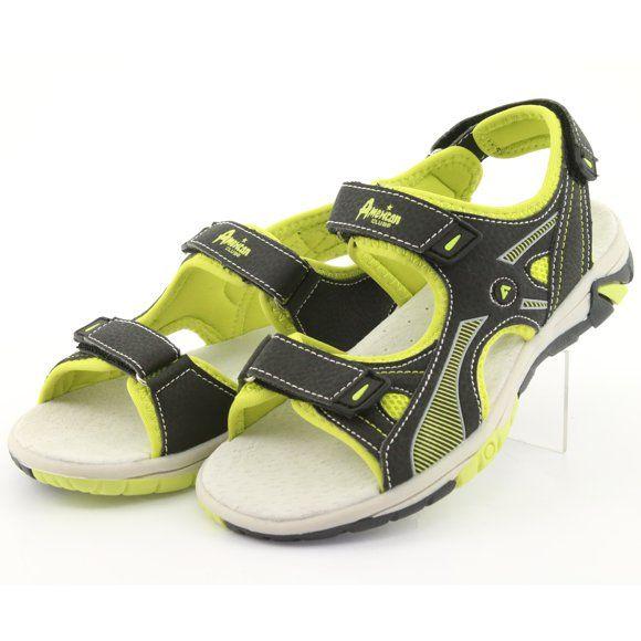Sandalki Chlopiece Sportowe American Club Rl22 Czarne Zielone Boys Sandals Black Sandals Kid Shoes