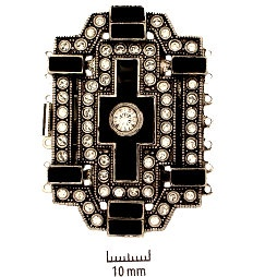 Rhodium Plate, Old Palladium Color, German Vintage-Style, Art Deco Push-Pull Box Clasp, with Rhinestones (crystal and jet), black enameled cross in center, 7-strand, 54x37mm, (1 clasp)    Land of Odds - Jewelry Design Center  www.landofodds.com