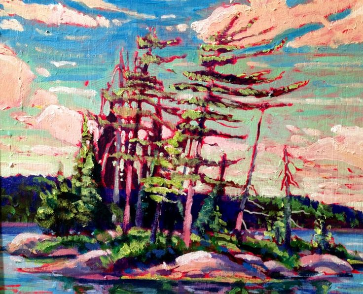 """Acrylic 10 x 12 landscape plein air painting called 'Dancing Pines"""". andrewhamiltonfineart.com"""