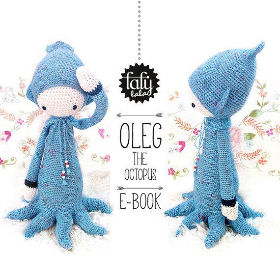 OLEG the octopus / squid / cuttlefish - lalylala amigurumi crochet PATTERN - ebook