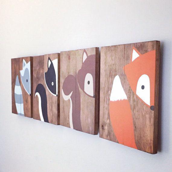 Tierbilder Baby – Woodland Paintings – Wald Zeichen Set – Woodland Kinderzimmer Dekor – Baby-Dusche-Geschenk – Fox-Malerei – Waschbär Malerei