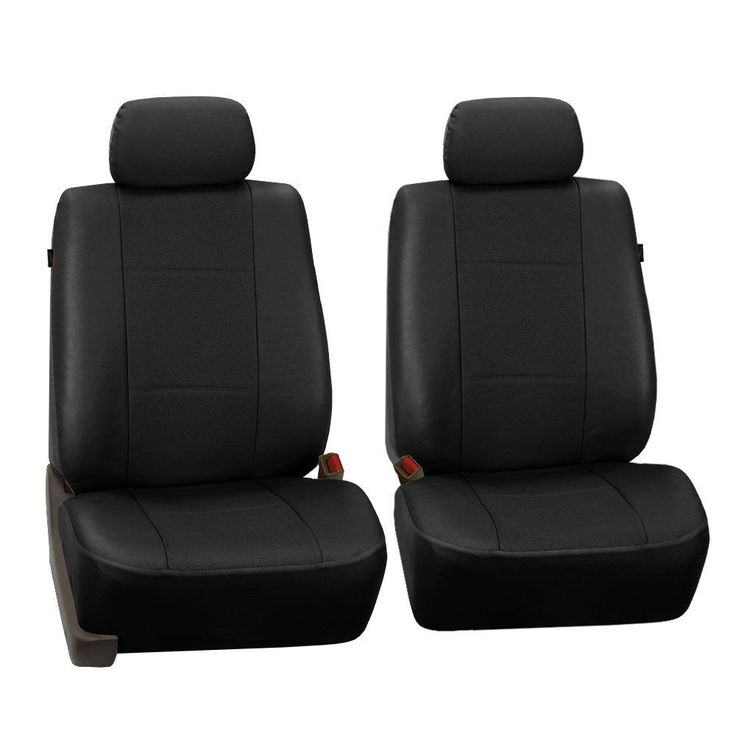 FH Group Black Deluxe Leatherette Front Bucket Seat Covers Set Of 2