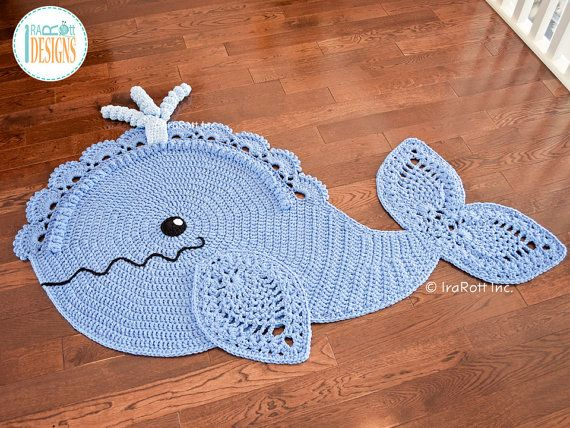 NEW PATTERN Joyce and Justin Whale Rug Nursery Mat Carpet PDF Crochet Pattern…