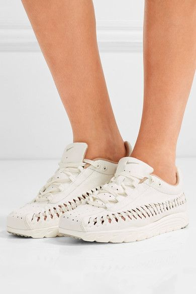 Nike - Mayfly Woven Leather-trimmed Faux Suede Sneakers - Off-white - US