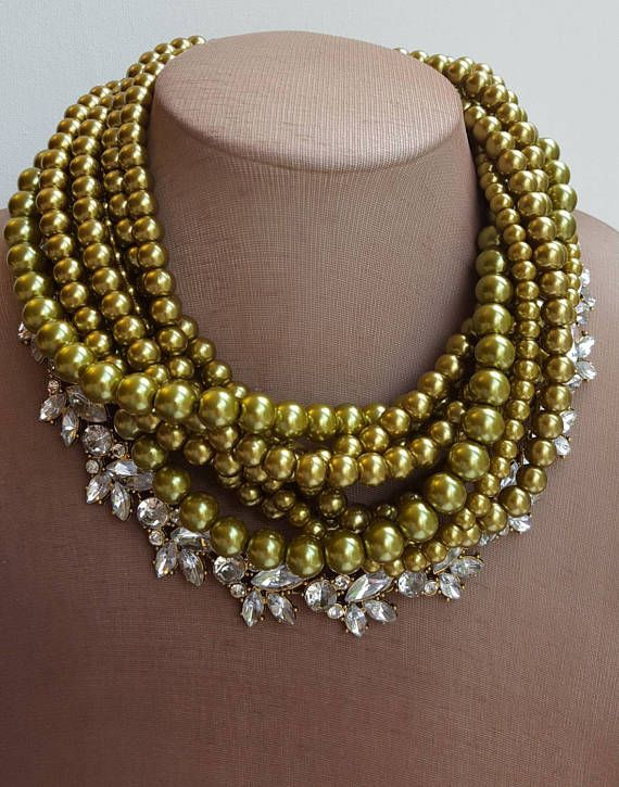 Check out this item in my Etsy shop https://www.etsy.com/ca/listing/520389740/chartreuse-pearl-rhinestone-choker