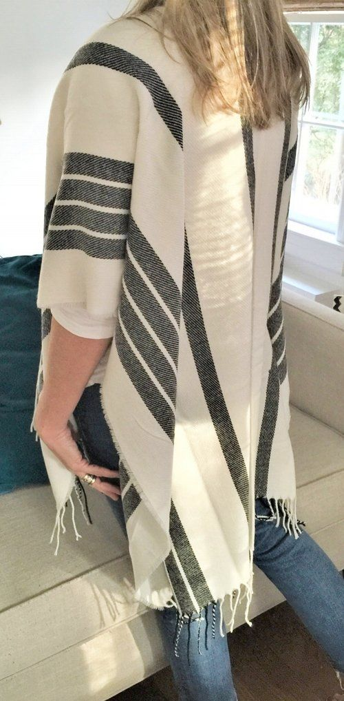 Poncho Rayado Transitional throw on poncho cape. Charcoal and white. Fabulous.  www.fabfinds-ainsleyandchase.com