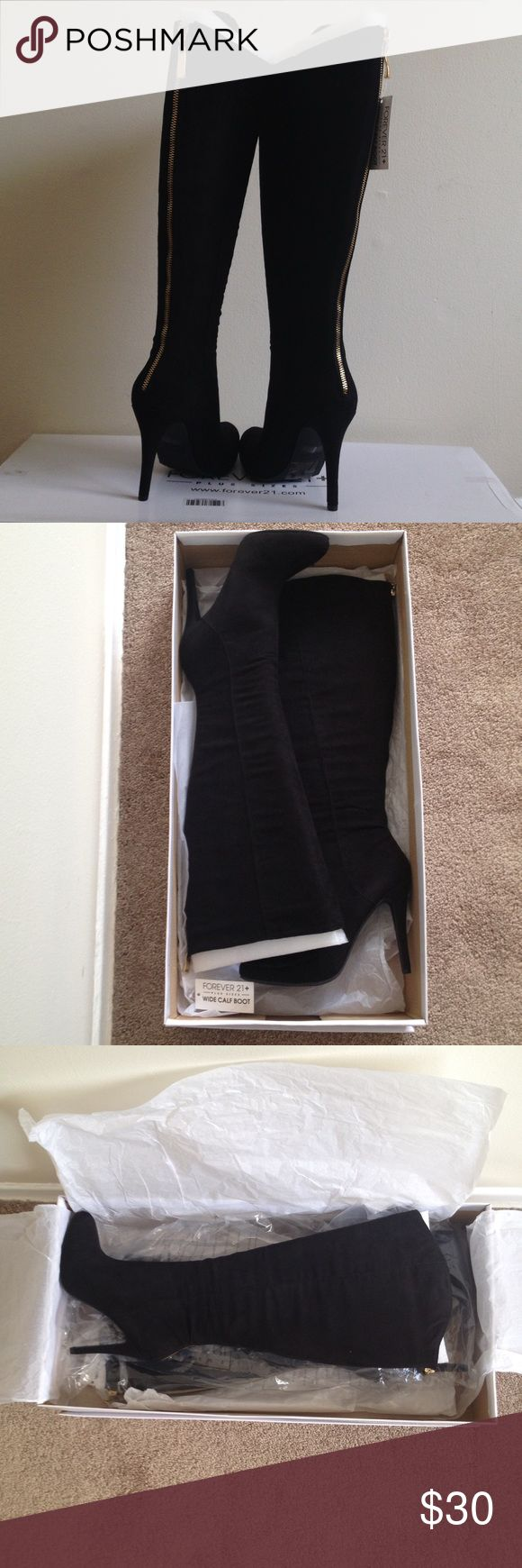 """Forever 21 Black Suede Spike Heel Boots Forever 21 Black Suede Spike Heel Boots. 4.5"""" heels. Compliments of my sister. She ordered them and ran out of time to return them. Brand new and never worn. NWT Forever 21 Shoes Heeled Boots"""