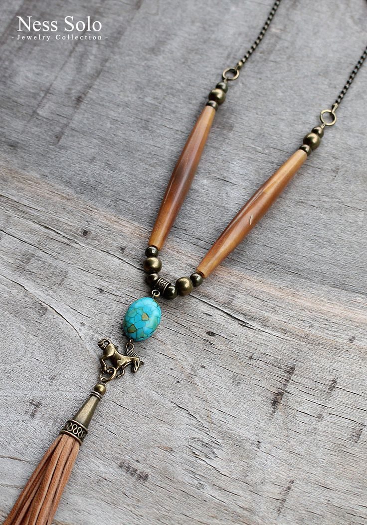 "Southwestern jewelry: long horn necklace with a horse and ""mosaic turquoise"" & a leather tassel pendant - boho tassel necklace by Ness Solo"