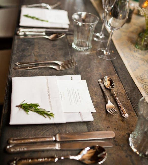 All the elements of a rustic-style table.