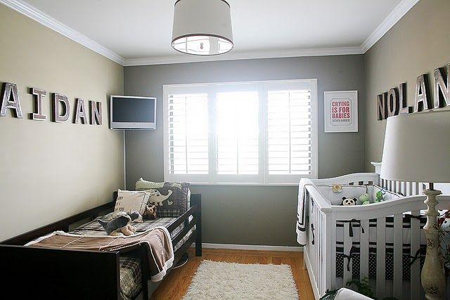 love this room! simple shared nursery/toddler room. love this paint color too