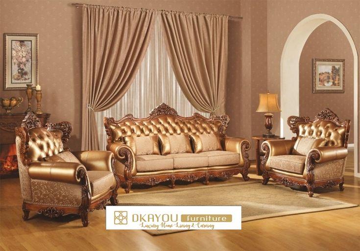 Set Sofa Tamu Mewah Klasik Jati Jepara Gold Leather