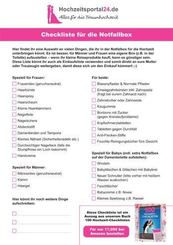 Hochzeit Notfallbox – die Checkliste. Auch als PDF zum Download. Eure Hochzeitsgäste werden begeistert sein, wenn ihr eine Notfallbox vorbereitet.