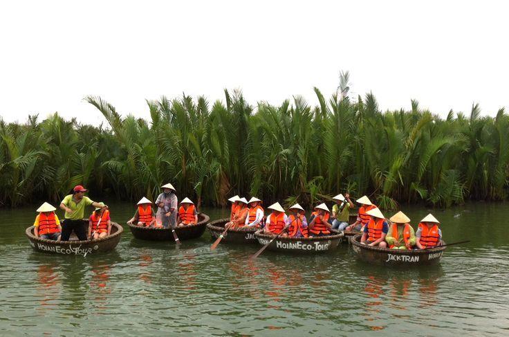 Crossing the river by basket boat. #VietnamSchoolTours #EcoTour