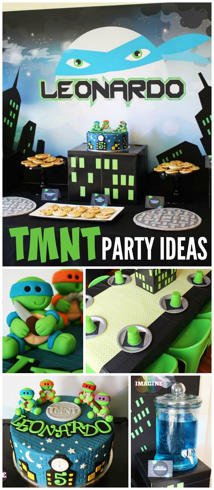 What an awesome TMNT party! The guests went home with a pizza box of treats! See more party planning ideas at CatchMyParty.com!