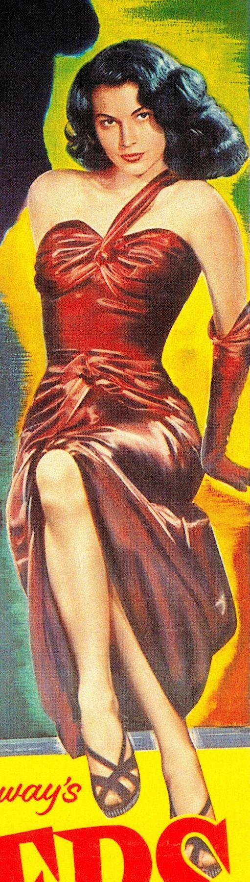 AVA GARDNER as Kitty Collins in THE KILLERS (1946) & Burt Lancaster. Original POSTER (detail) dir: Robert Siodmak. prod: Mark Hellinger. Gown supervisor VERA WEST. 'Hit men kill an unresisting victim, and investigator Reardon uncovers his past involvement with beautiful, deadly Kitty Collins' imdb. From The Art of Noir by Eddie Muller (2002) (please follow minkshmink on pinterest) #filmnoir #thekillers #avagardner #burtlancaster #lighting #femmefatale #seductress #badgirl